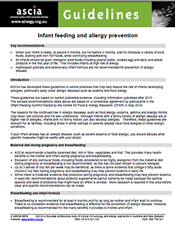 Guidelines infant feeding and allergy prevention