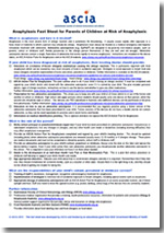 ASCIA Anaphylaxis Fact Sheet for Parents of Children at Risk of Anaphylaxis