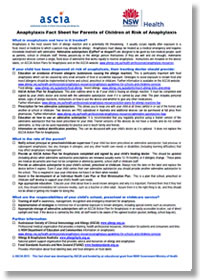 ASCIA anaphylaxis parent fact sheet