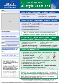 Ascia action plan anaphylaxis australasian society of for Allergy action plan template