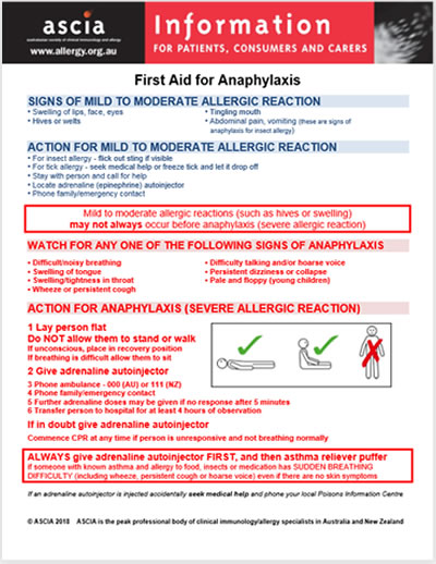 photograph relating to Printable First Aid Guide identify Initially Help for Anaphylaxis - Australasian Tradition of Health care