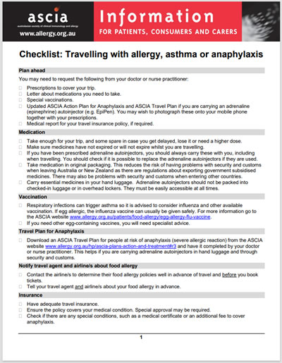 ASCIA Checklist Travelling with allergy asthma or anaphylaxis 2020