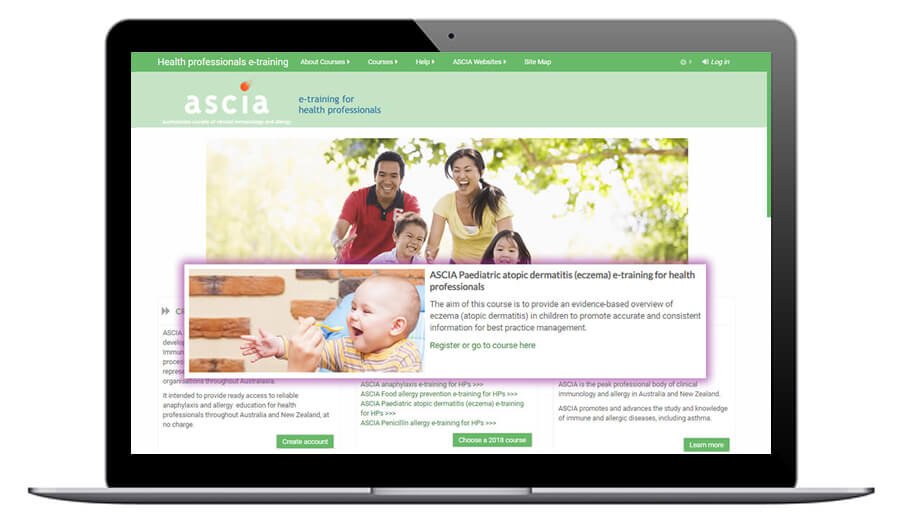 ASCIA Paediatric atopic dermatitis (eczema) e-training for health professionals
