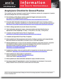 ASCIA HP anaphylaxis checklist for GPs