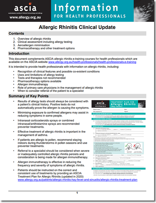 Allergic Rhinitis Clinical Update