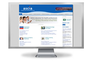 ASCIA website on desk top computer